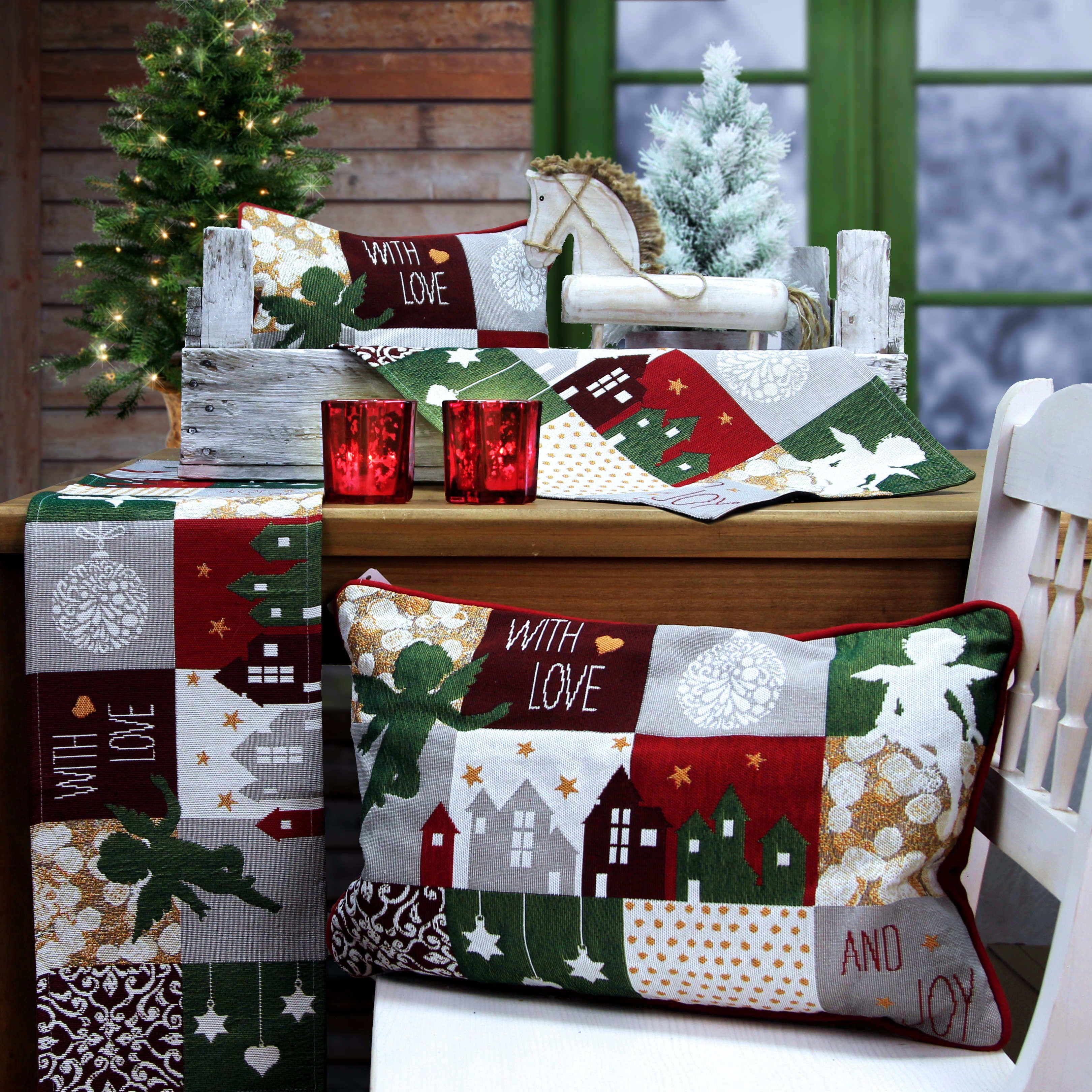 weihnachtskissen tischsets und tischl ufer f r. Black Bedroom Furniture Sets. Home Design Ideas