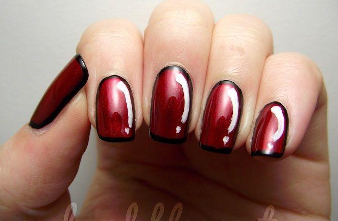 Decoracion De Unas Rojas Con Negro Red And Black Nails Unas