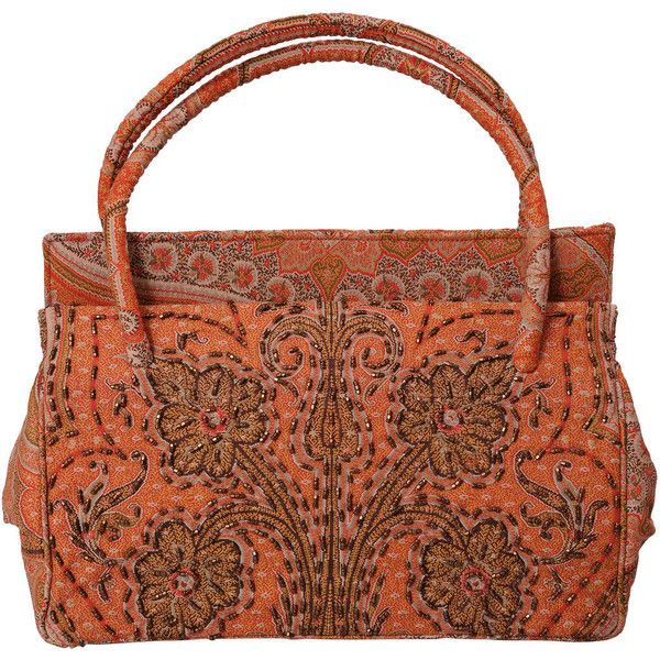 Preowned Laddie Northridge 1950's Beaded Paisley Bag & Hat (650 CAD) ❤ liked on Polyvore featuring accessories, hats, brown, paisley shawl, beaded shawl, antique hats, colorful shawl and beaded hat
