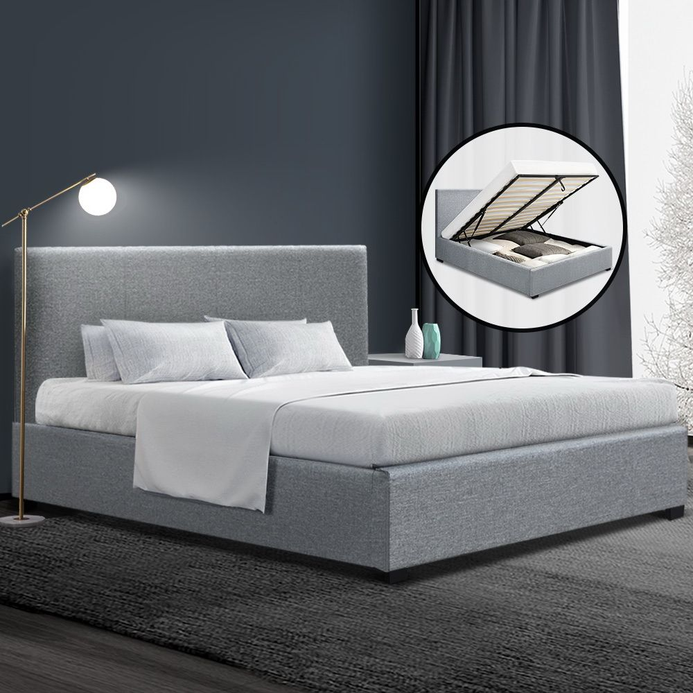 Lila Grey Gas Lift Storage Bed Frame Online Only Matt Blatt In