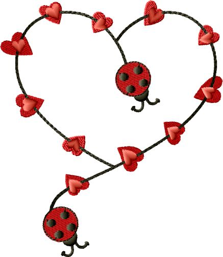 Ladybugs Heart Free Embroidery Design Size 45 X 520 My