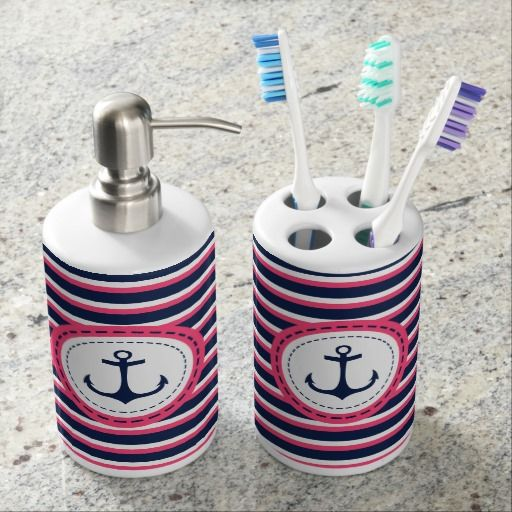 Nautical Navy Blue Hot Pink Stripes Anchor Design Bathroom Sets