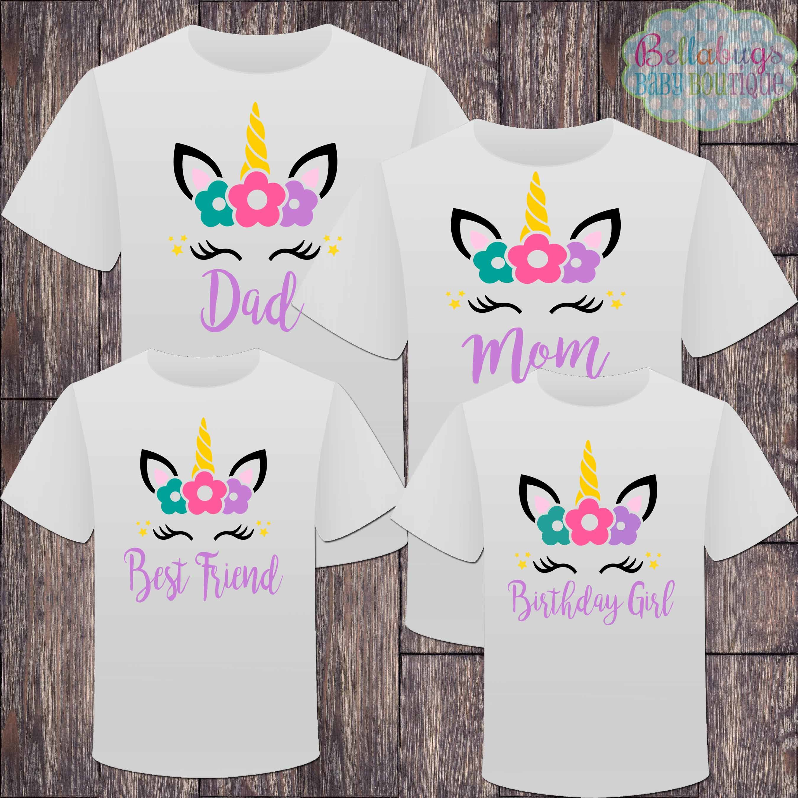 matching unicorn family birthday girl tshirts  birthday