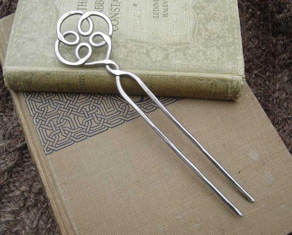 Celtic Knot Swirl Shawl Pin, Scarf Pin, Shawl Stick Hair Fork Hair ...