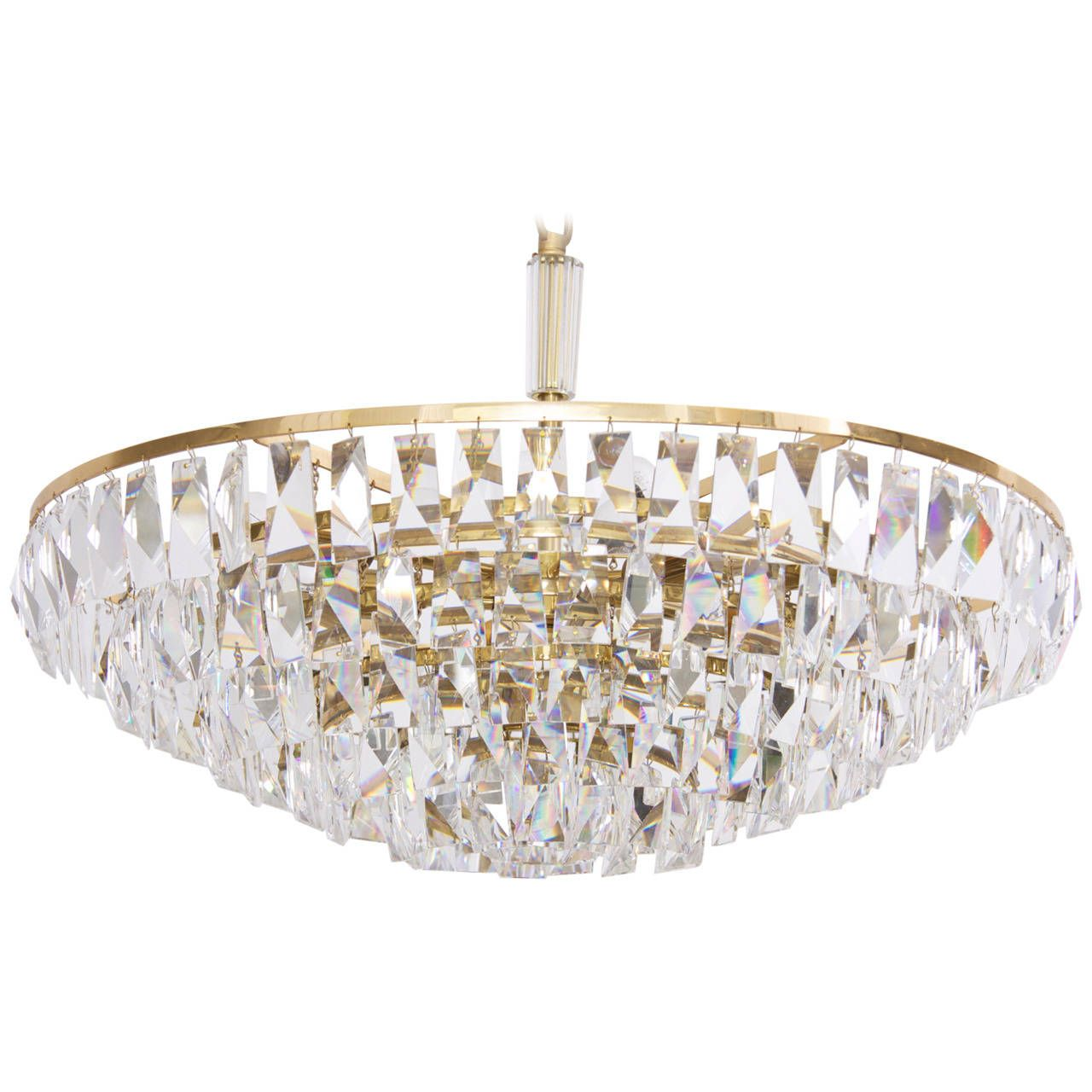 Extraordinary Huge Palwa Gilded Brass And Crystal Glass Chandelier From A Unique Collection Of Antique Modern Chandeliers Pendants At