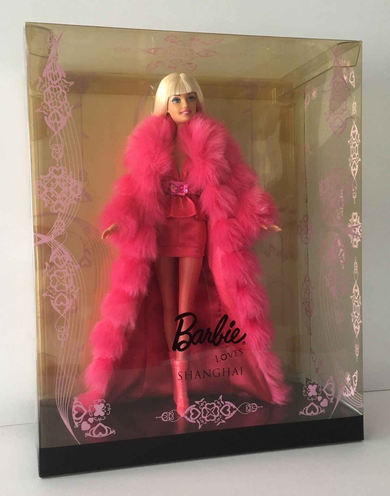 BARBIE Loves Shanghai RARE Collector Pink Fur Coat NIB 2009