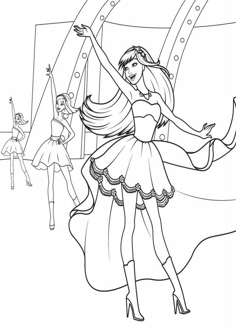Kolorowanka Barbie Ksiezniczka I Piosenkarka Obrazek Z Bajki Dla Dziewczyn Nr 2 Barbie Coloring Barbie Coloring Pages Princess Coloring Pages