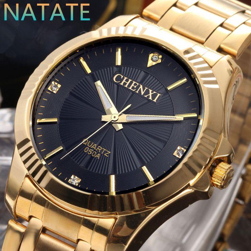 6b73dd43071 Barato NATATE CHENXI Rel oacute gio de Ouro Da Moda Homens Rel oacute gio  de ouro
