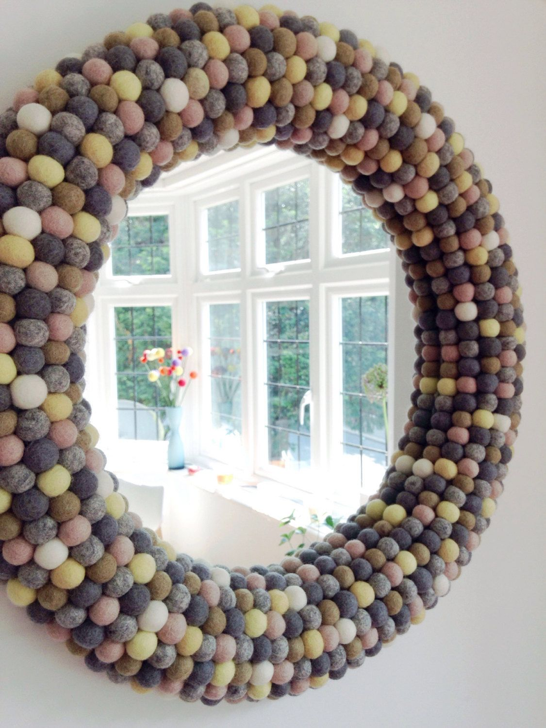 Large Round Wall Mirror Framed Felt Ball Mirror Decorative Mirror Custom Mirror Unique Wall Mirror Large Round Wall Mirror Round Wall Mirror Mirror Wall