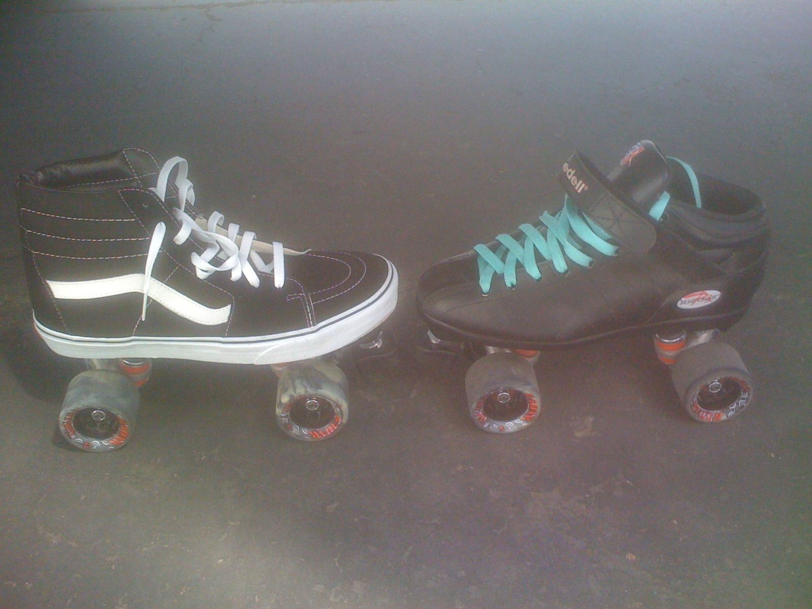 It's easy to make your own Vans tennis shoe skates out of an old pair of roller skates. I chose the old school high tops because they have good ankle support and they're just bitchen.