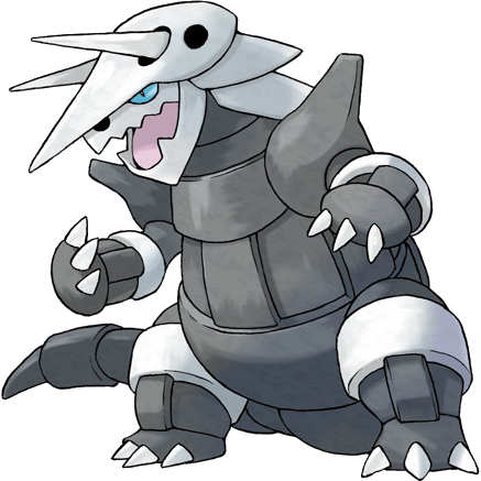 Aggron. Looks like a combination of a triceratops and a t-rex to me