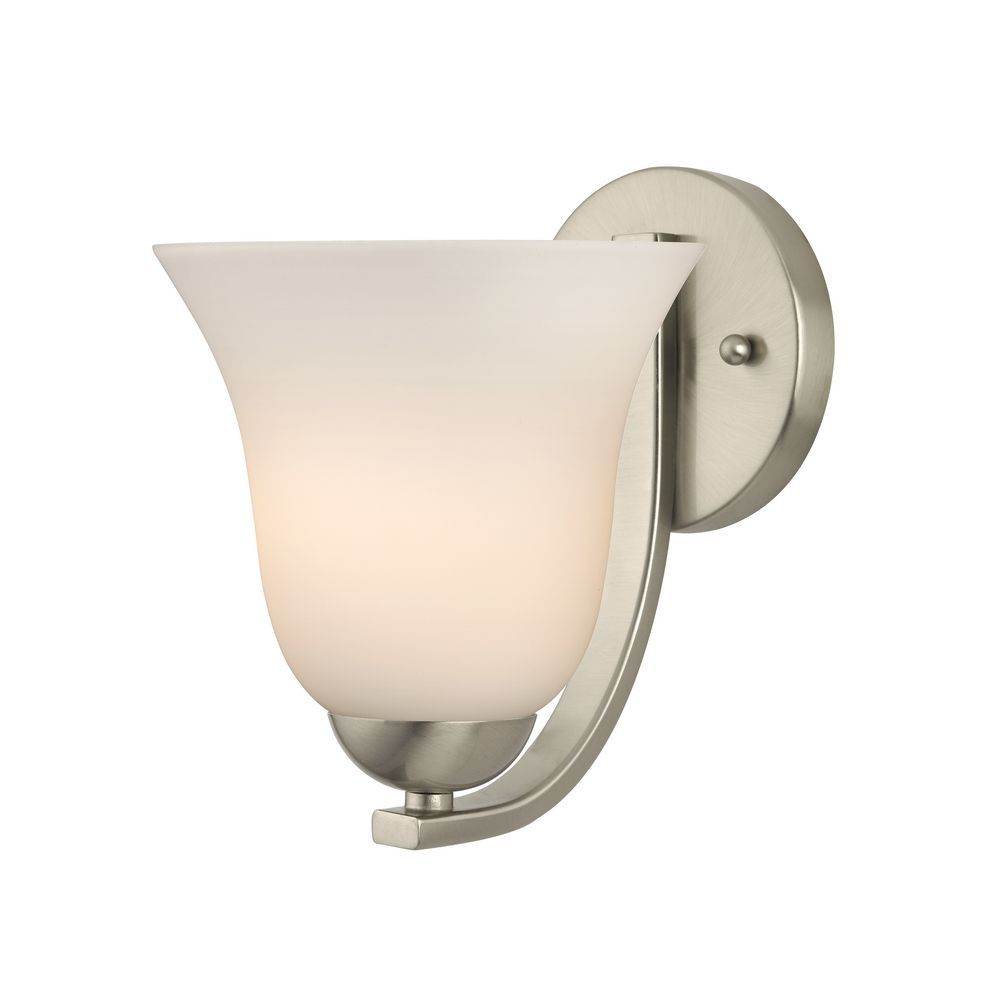 Modern Wall Sconce With White Bell Glass In Satin Nickel Finish At Destination Lighting Modern Wall Sconces Sconces Replacement Glass Shades