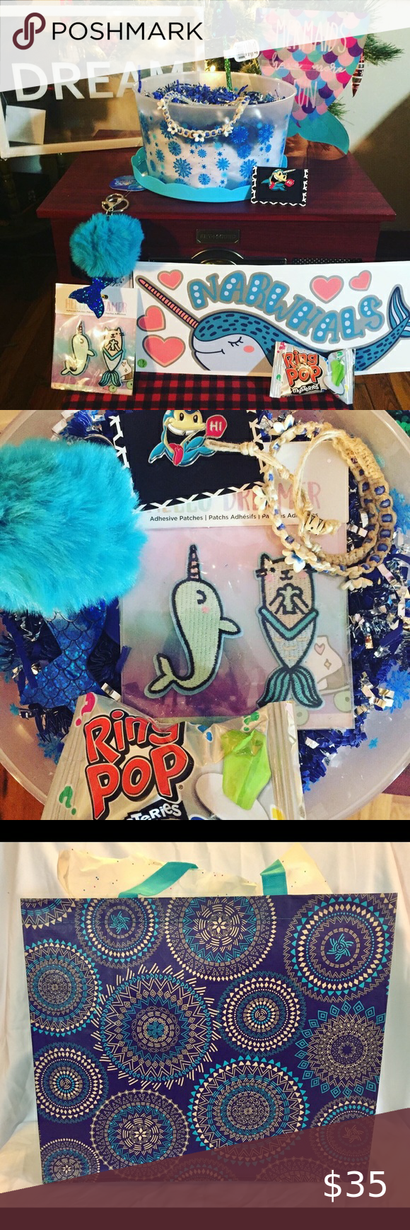 """Narwhals & Mermaids Gift Set Includes:  """"Mermaids Have More Fun"""" Fishtail Sign, Sequined Mermaid Tail Pen, Hemp Flower Choker, Ring Pop, Set of Narwhal/ Purrmaid Patches, Puff/Pom Mermaid Tail Keychain, Narwhal Enamel Pin, """"Dream"""" Decor and """"I Love You More Than All The Narwhals In The Sea"""" Sticker Decor Set.  This 9 Item set is ready for gifting in a reusable Tote Bag!    #narwhals #mermaids #believe #valentine #sealife #dream #hemp #magical #candy #giftset #tacosclosets  #shoplocal #locallyown"""
