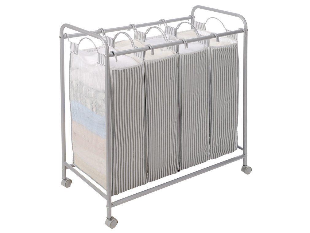 Storagemaniac Heavy Duty Quad Laundry Hamper With Casters Rolling