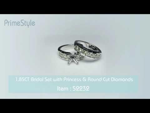 1.85CT Bridal Set with Princess & Round Cut Diamonds