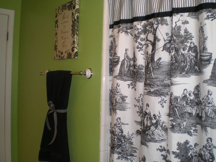 red toile bathroom | green bathroom with black, white and red ...