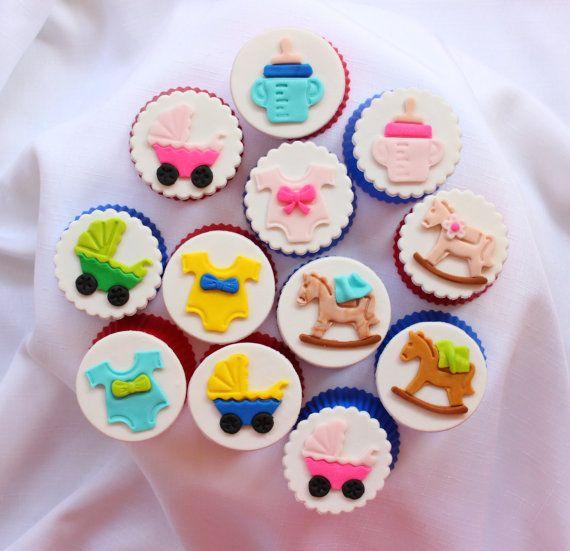 12 Baby Dusche Essbare Cupcake Topper Fondant Cupcake Topper 1