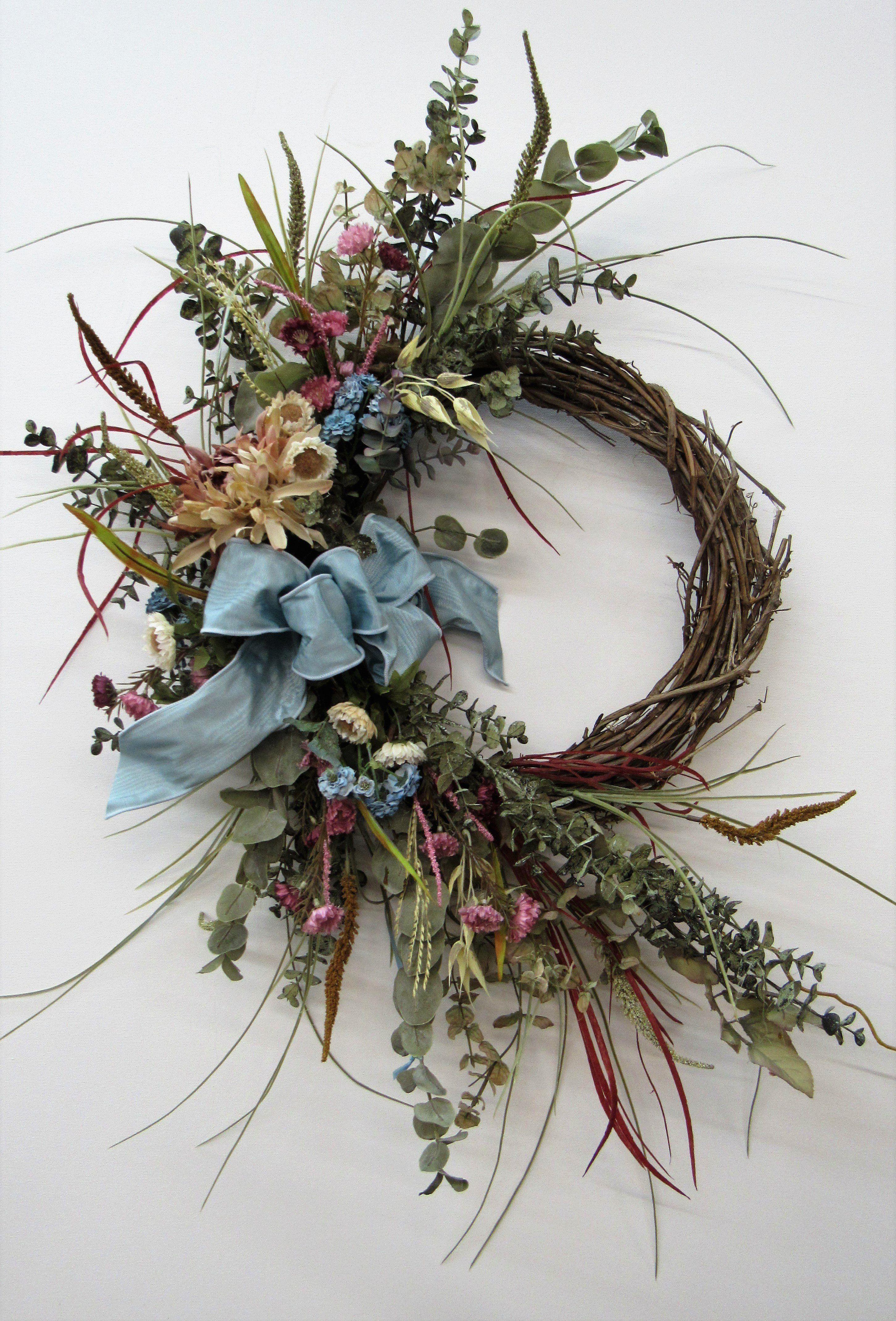 Blue Cream And Mauve Silk Floral Crescent Style Fall Wreathharv157