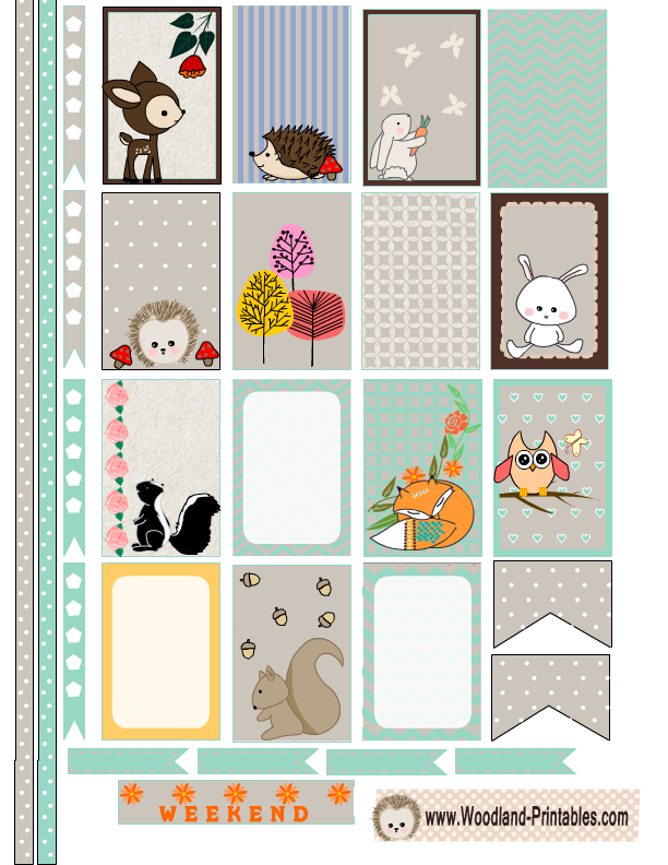 Happy Planner Calendar Printables : Free printable woodland animals stickers for happy planner