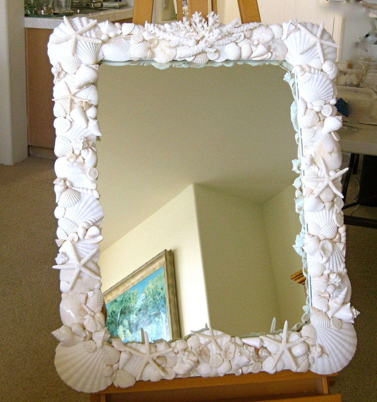 Bathroom Mirrors Coastal beach decor - large seashell mirror with coral and starfish