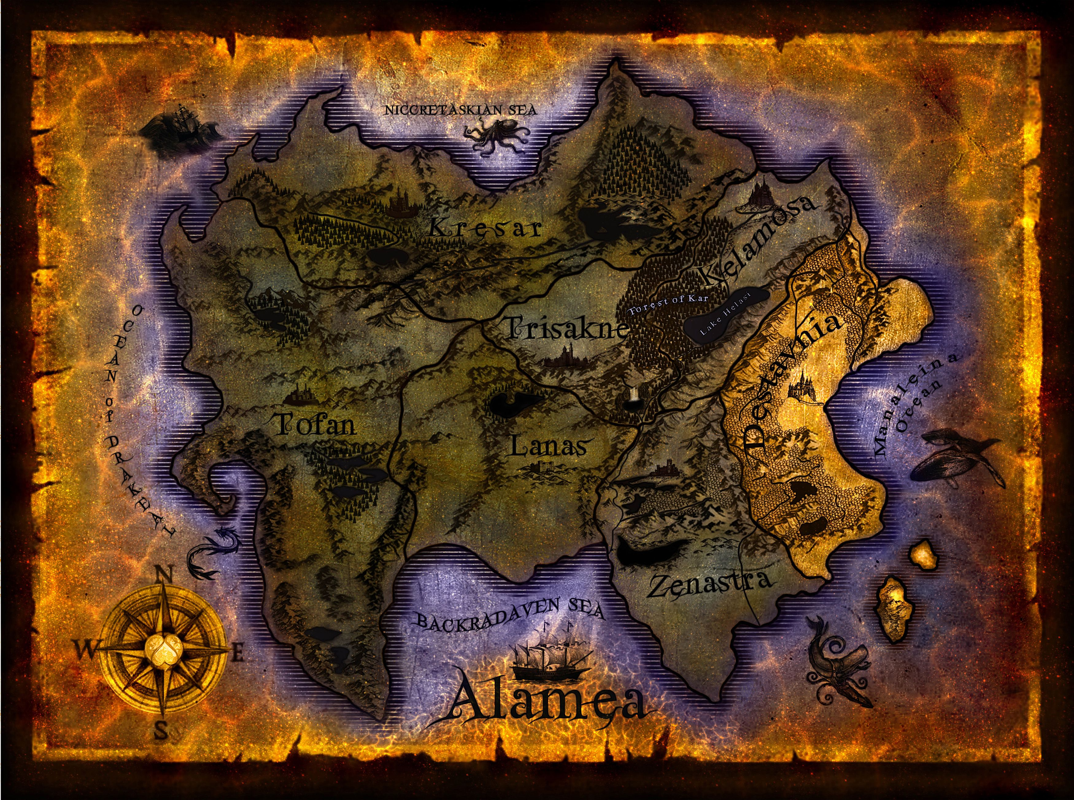 The map of the magical world of Alamea being engulfed by evil, as featured in The Half-Hearts Trilogy, written by authoress, Kealohilani. It is a sister world to our own beloved planet, Earth. Map designed by Kealohilani and artwork done by Steven Squire.