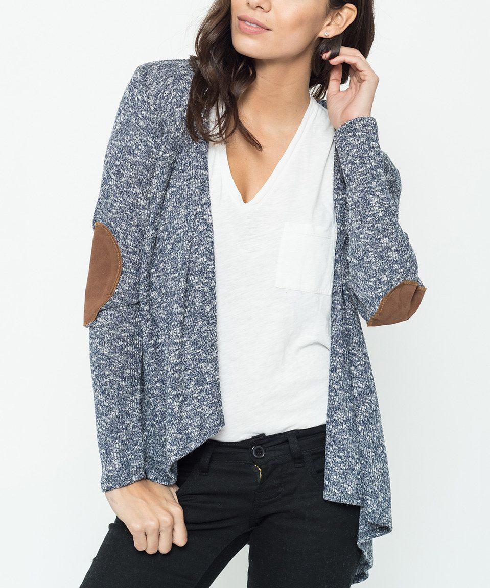 Love this Caralase Navy Elbow Patch Cardigan by Caralase on #zulily! #zulilyfinds