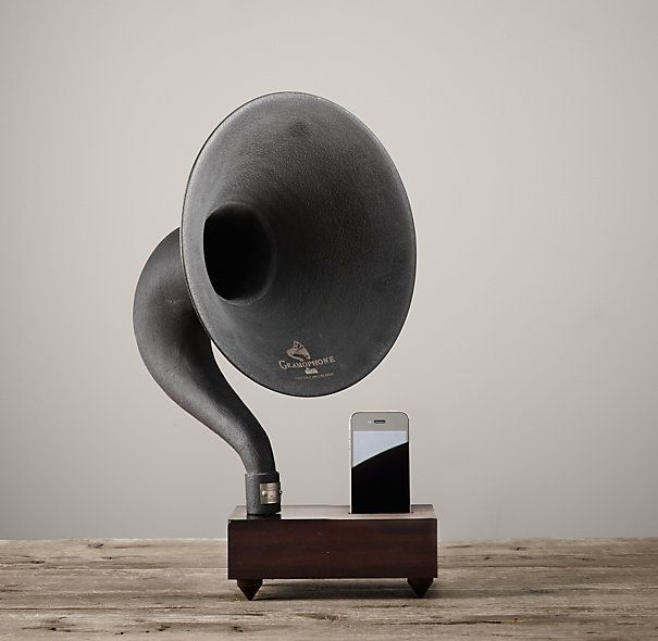 Restoration Hardware Gramophone: Vintage Phonograph Speakers