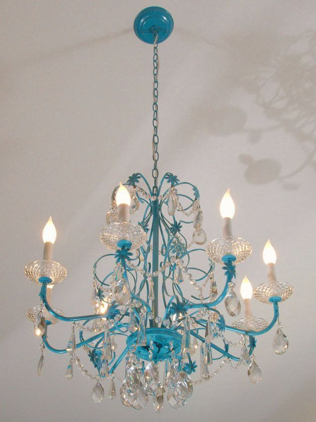 DIY Chandelier Makeovers Blue Chandelier Redo