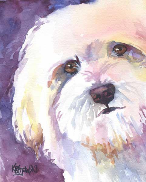 Bichon Frise Dog Art Print Signed by Artist Ron Krajewski 8x10