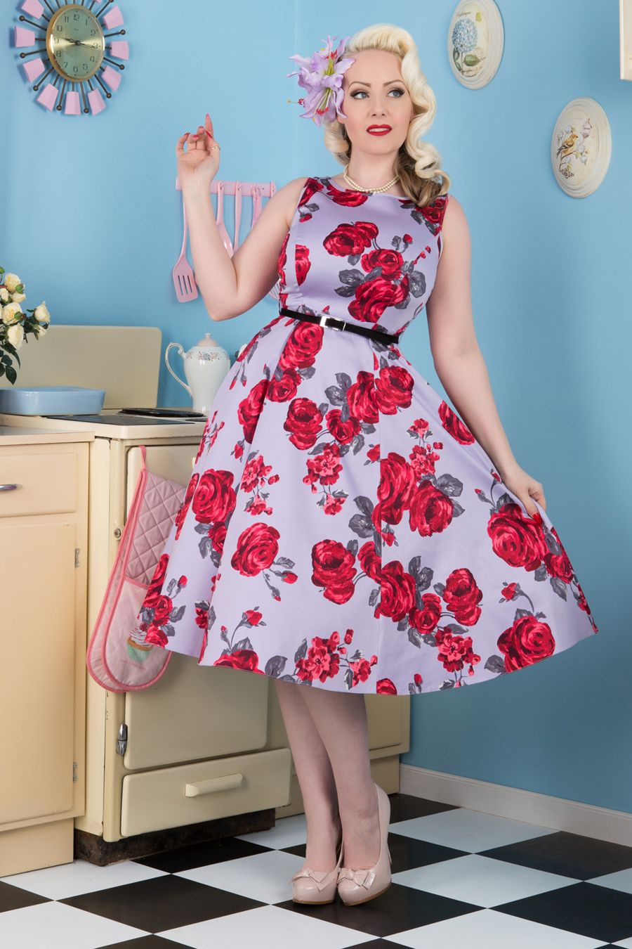 Red Rose Floral on Lilac Hepburn Dress