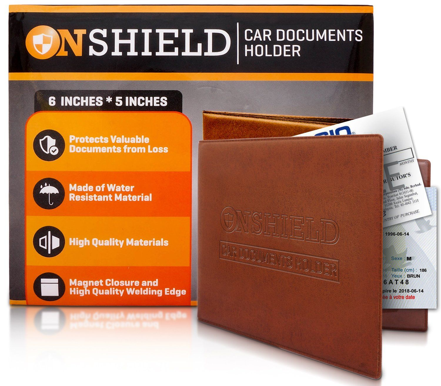 Car registration and insurance card holder with