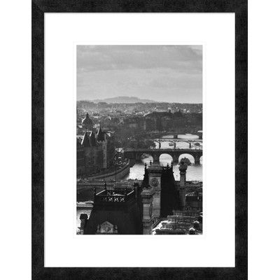 """Global Gallery 'River Seine and the City of Paris' by Peter Turnley Framed Graphic Art Size: 32"""" H x 20"""" W x 1.5"""" D"""