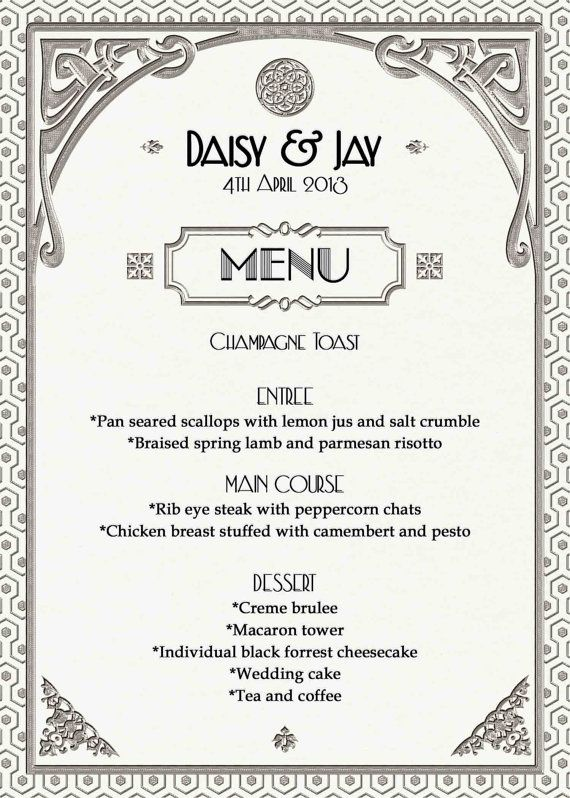Gatsby Art Deco Wedding Menu Or Dinner Party By Westminsterpaperco