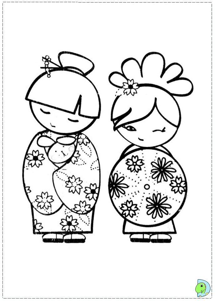 Kokeshi Dolls Coloring Page Dinokids Org Doll Drawing Kokeshi Dolls Japanese Quilts
