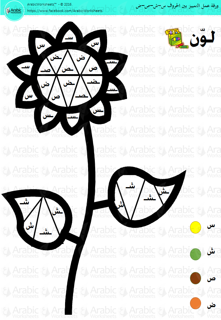 ورقة عمل التمييز بين الحروف س ش ص ض Arabic Alphabet Color By Letter Harf Okul Harfler