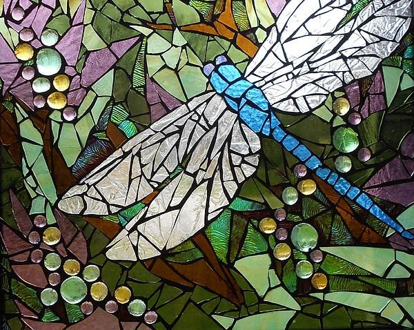 Mosaic Stained Glass - Blue Dragonfly 50/50 by Catherine Van Der Woerd