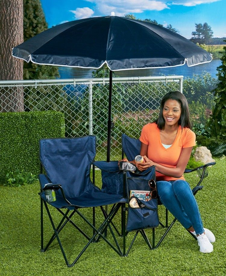 Portable Folding Chair Double With Cooler And Adjule Umbrella Beach Shade Portablefoldingchair Beachchair Foldingchair Loungechair