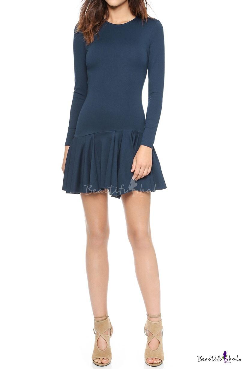 Yellow dress long sleeve  Plain Zip Back Long Sleeve Dress with Peplum Hem  Sleeved dress and