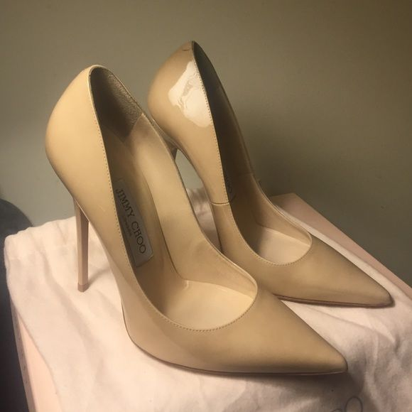56106d1986 Jimmy Choo Anouk Heels Patent Leather nude heels. 120 mm. Size 37. Box and  dust bag included. Receipt. Used 2x. Like new. 450 on Jimmy Choo Shoes Heels