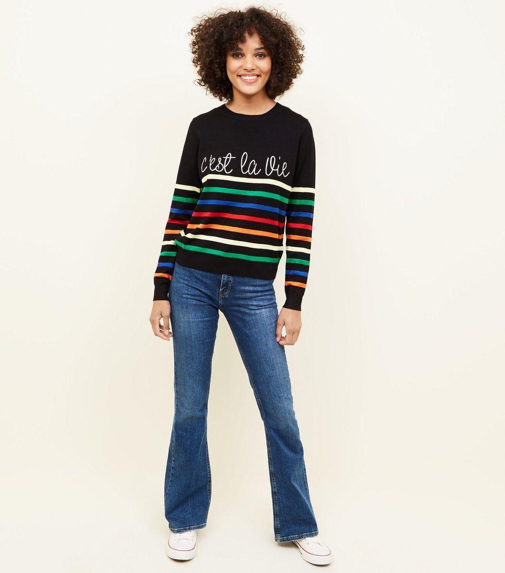 Black stripe cuest la vie slogan jumper clothes i like pinterest