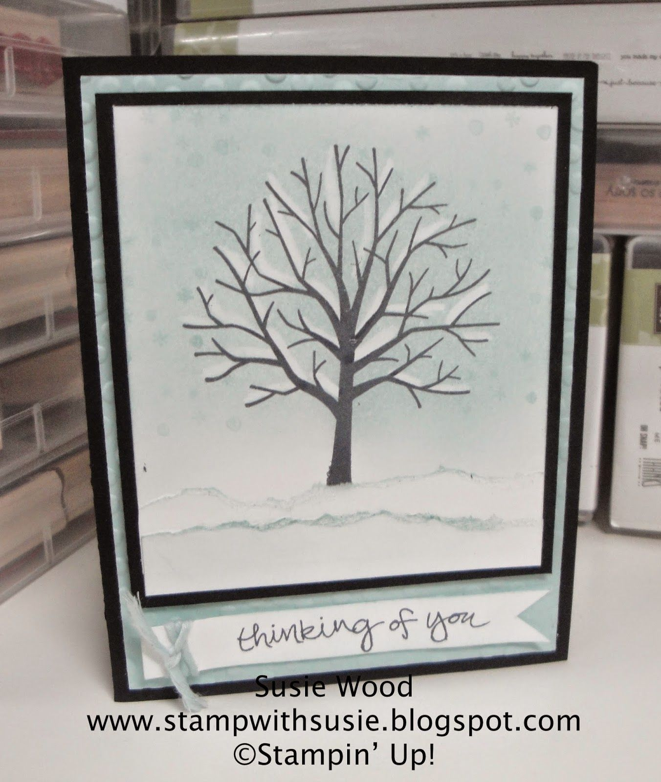 Stampin' Up!- A winterland card using 'Sheltering Tree'- doing the crayon resist technique!