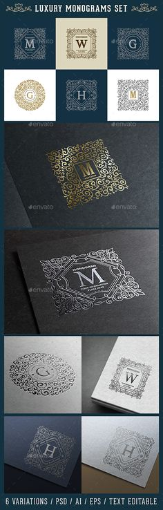 Luxury Logo and Monogram Set Template PSD, Vector EPS, AI. Download here: http://graphicriver.net/item/luxury-logo-and-monogram-set/15118516?ref=nexion