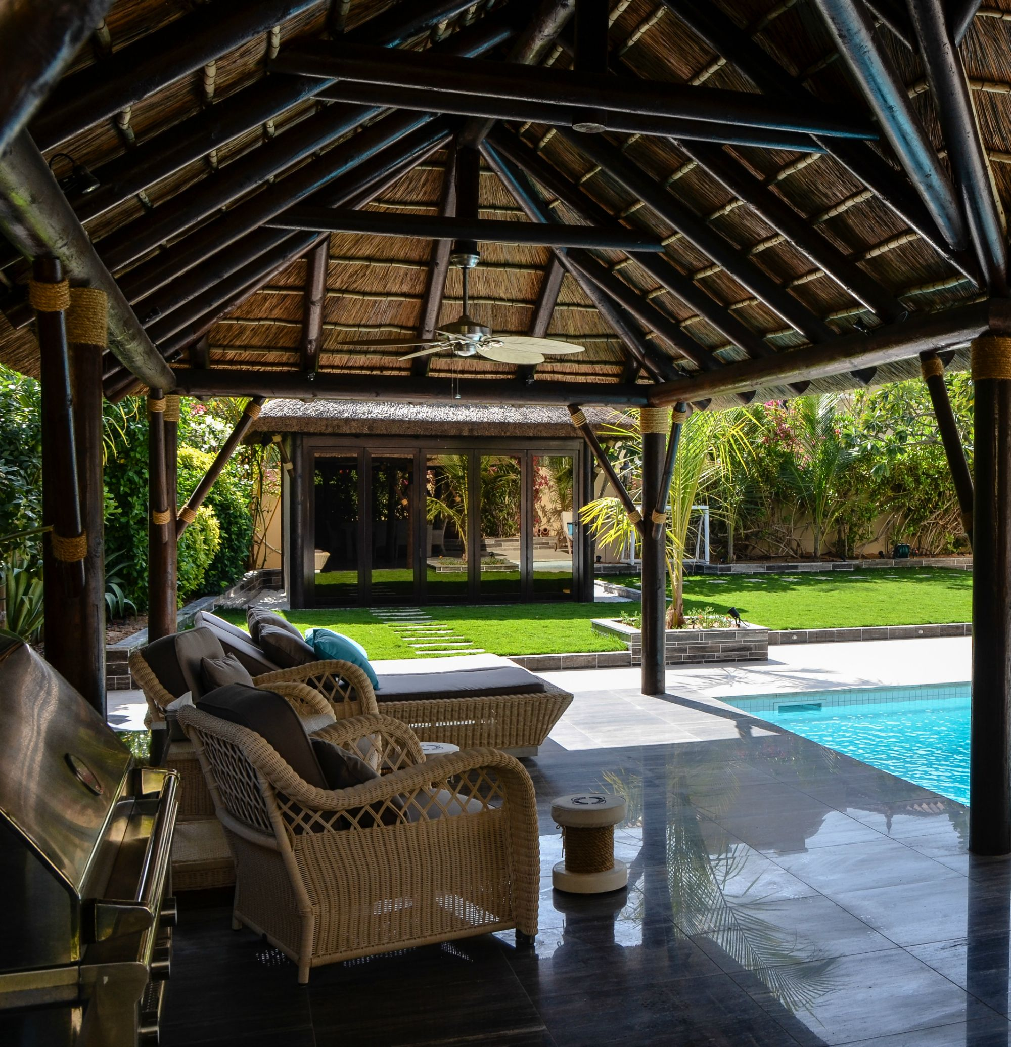 Outdoor Kitchen With Thatched Gazebo Outdoor In 2019