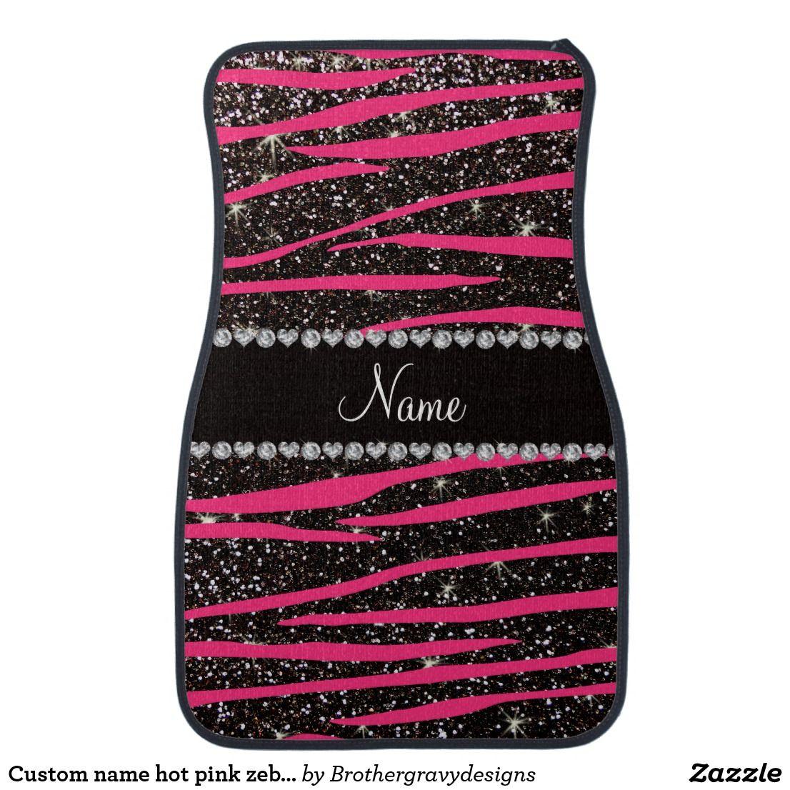 Custom name hot pink zebra stripes black glitter car floor