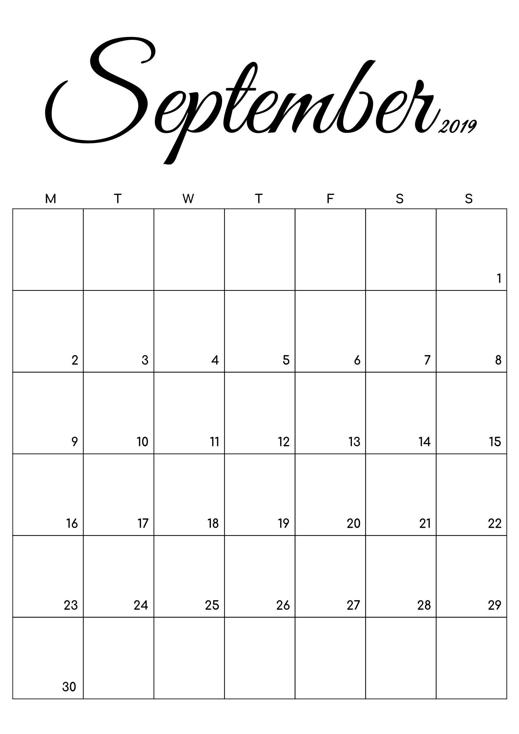 Free Printable Calendar September Amp October Black And