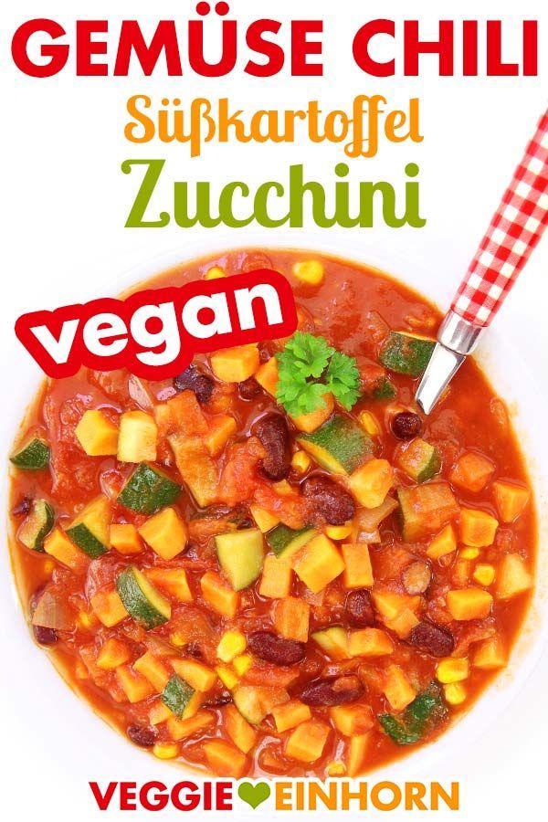 Veganes Chili mit Süßkartoffel und Zucchini #veganerezeptemittag