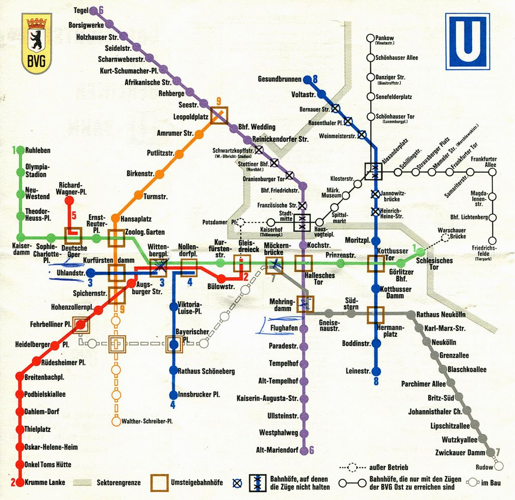 Berlin U Bahn Subway Map 1970 Berlin Transit Map West Berlin