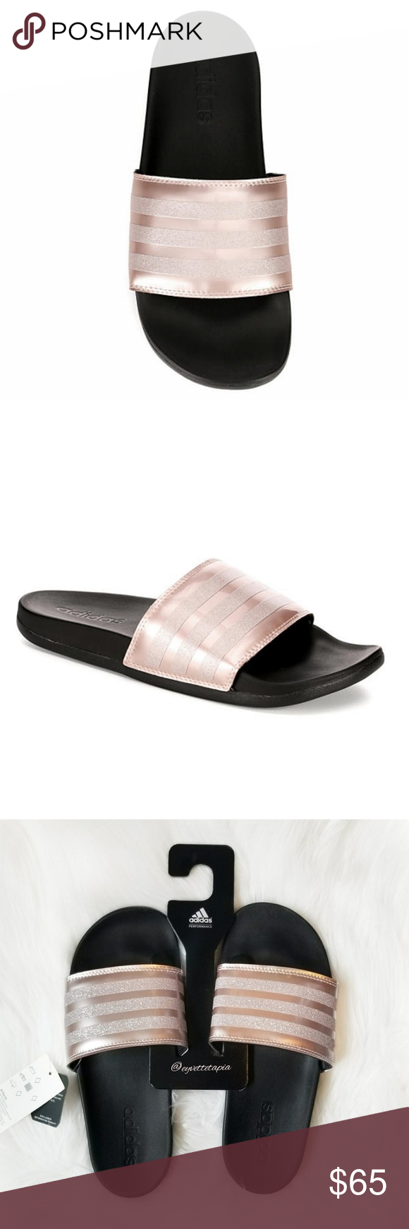 fdab5ec76 Adidas pink rose gold slide sandals Slip into comfort with the Adidas  Cloudfoam women s sandal. A slide on construction is topped off with a wide  strap and ...