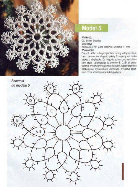 free patterns! Beautiful tatting snow flakes motif <無料編み図>タティングレースモチーフ雪の結晶星 #tatting