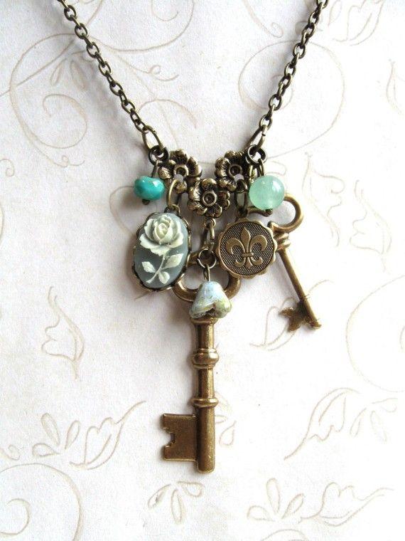 Long key necklace, charm necklace, sage green, fleur de lis charm ...